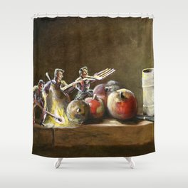 Still Life with Tiny Evil Ashes: After Chardin Shower Curtain