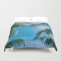 palm trees Duvet Covers featuring PALM TREES by C O R N E L L