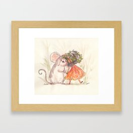 Thumbelina and the Mouse! Framed Art Print