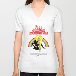 """""""DOLLY'S FLAG OF MANY COLORS"""" BY ROBERT DALLAS Unisex V-Neck"""