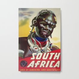 South Africa Vintage Travel Poster Metal Print