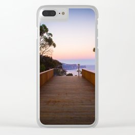 Sitting on the dock of the cliff Clear iPhone Case