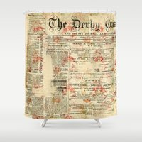 newspaper Shower Curtains featuring Vintage newspaper grunge by MJ'designs - Marosée Créations