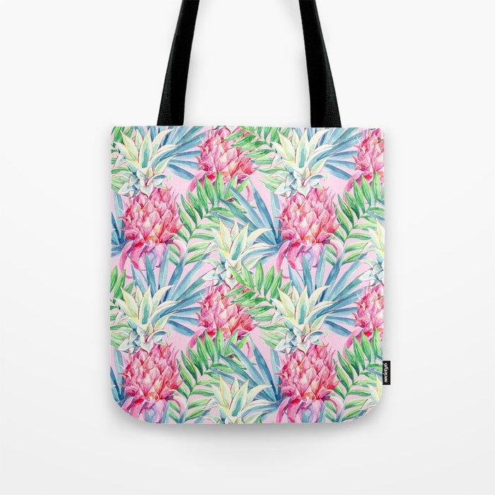 Pineapple & watercolor leaves Tote Bag