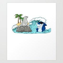 Do Not Consume If Seal Is Broken Seal & Shark Art Print