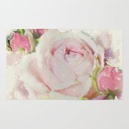 Watercolor Pink Rose Rug