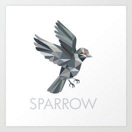 Sparrow Text Low Polygon Art Print
