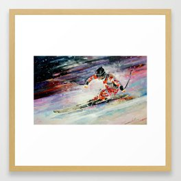 Skiing Dowhill Framed Art Print