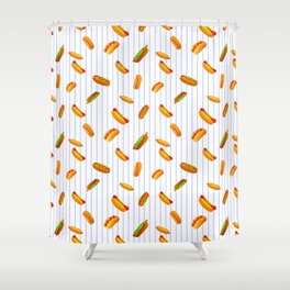 Hot Dog Pattern With Pinstripes Shower Curtain