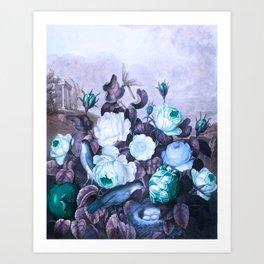 Teal Roses Blue Birds : Temple of Flora Art Print