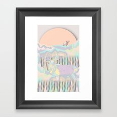 Deer Forest Framed Art Print
