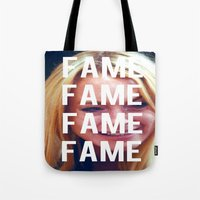 lindsay lohan Tote Bags featuring FAME - LINDSAY LOHAN by Beauty Killer Art