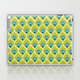 Modern Peacock Feather Blue Green Abstract Pattern Laptop & iPad Skin