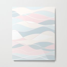 Pastel Waves // Beach Surf Light Colors Peach Blush Aqua Ocean Tides Vintage Surfing Vibes Metal Print