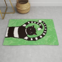 Evil Kitty Chasing Flies In Green Leaves Cat Lover Rug