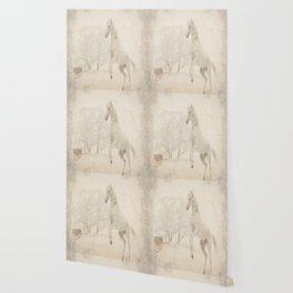 Vintage Winter Horse Wallpaper
