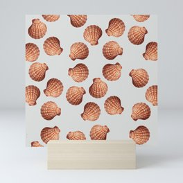 Grey Big Clam pattern Illustration design Mini Art Print
