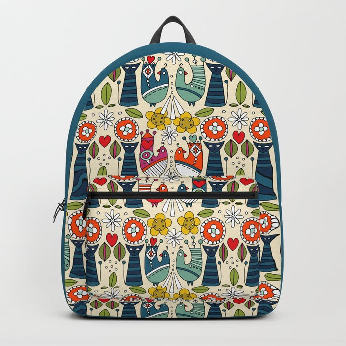 Swedish folksy cats and birds Backpack