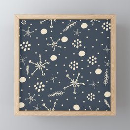 Seamless Winter Snowy Background filed with snowflakes. Winter, Merry Christmas Framed Mini Art Print
