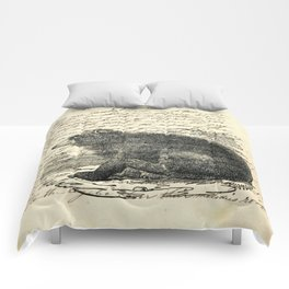 rustic cabin  woodland animal mountain forest grizzly bear Comforters