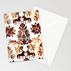 horse damask Stationery Cards