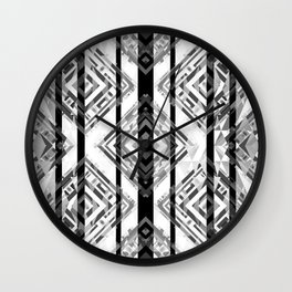 Black and White Tribal Boho Wall Clock