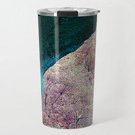 pastel bright green pink alien planet cave landscape Travel Mug