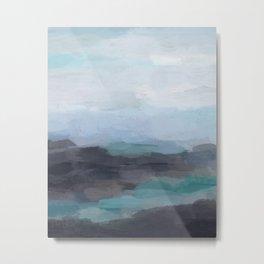 Mint Navy Blue Green Abstract Wall Art, Painting Art, Ocean Painting Print, Blue Water Metal Print