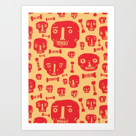 Skulls & Bones - Red/Yellow Art Print