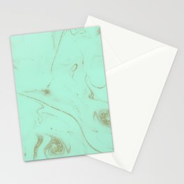 Elegant gold and mint marble image Stationery Cards