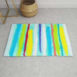 Ocean Blue Summer blue abstract painting stripes pattern beach tropical holiday california hawaii Rug
