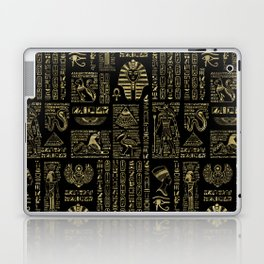 Egyptian hieroglyphs and deities gold on black Laptop & iPad Skin