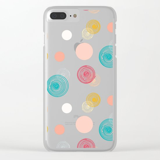 Colorful Scrawled Polka Dots Clear iPhone Case