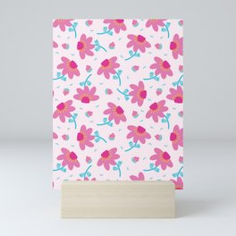 Bright summer daisy flower bloom seamless pattern. Mini Art Print