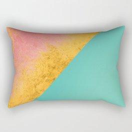 Aqua Coral Gold Rectangular Pillow