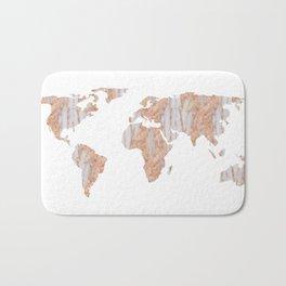 World Map Marble Pink Rose Yellow Gold Glitter Bath Mat