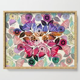 Pink and indigo flower pattern Serving Tray