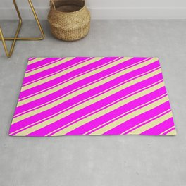Pale Goldenrod & Fuchsia Colored Stripes/Lines Pattern Rug