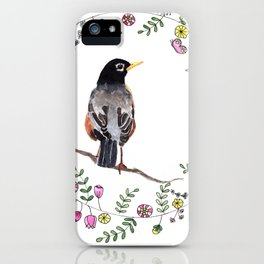 American Robin With Whimsical Flower Wreath iPhone Case