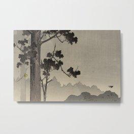 Japanese Woodcut: Bell and Rope Metal Print