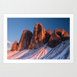 Tre Cime di Lavaredo at sunset Art Print