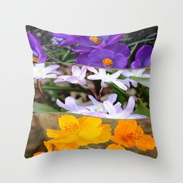 Spring Floral Collage Throw Pillow