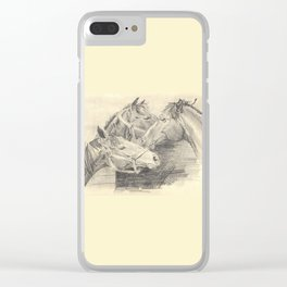 Three horses - pencil sketch Clear iPhone Case