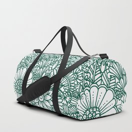 Hand drawn forest green white modern floral Duffle Bag
