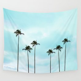 Palm Tree Photography   Turquoise Sky Wall Tapestry
