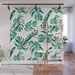 Green Coral Palm Leaves Wall Mural