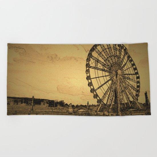 Ferris Wheel, Paris Beach Towel
