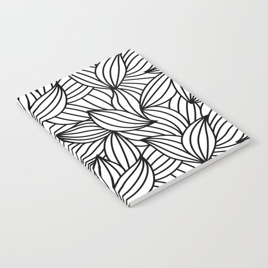 Abstract Lines Pattern Design 2 - Leaf Notebook