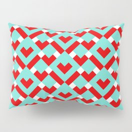 Graphic Hearts Pattern (Christmas Candy Color Palette) Pillow Sham