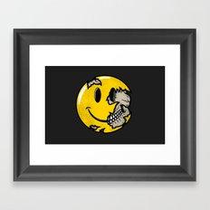 Smiley face skull Framed Art Print